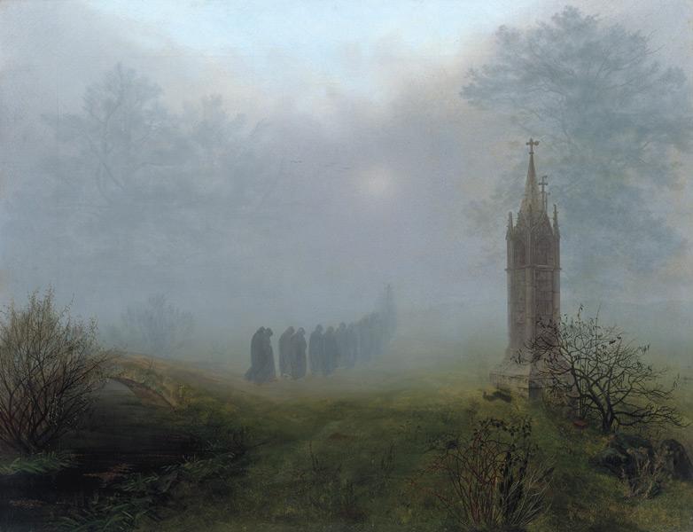 """Ernst Ferdinand Oehme, """"Procesja we mgle"""", 1828, olej na płótnie, 81,5 × 105,5 cm (Galeria Nowych Mistrzów, Drezno)"""