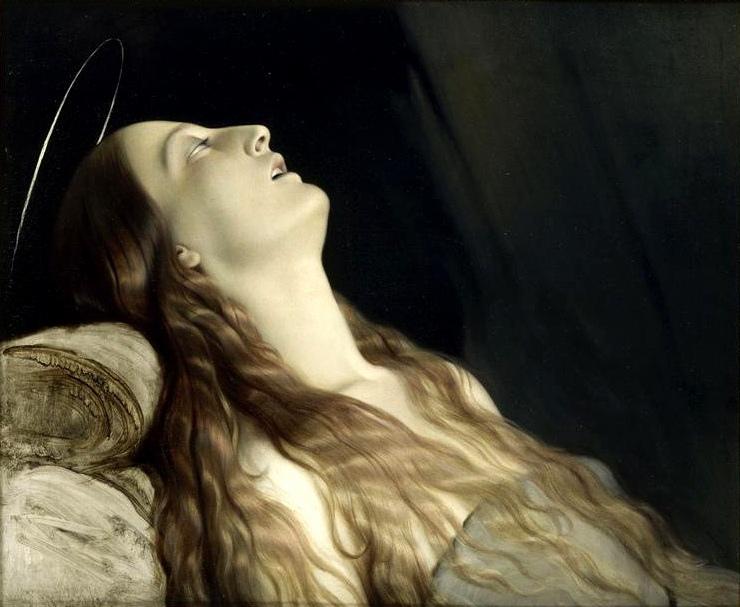 """Paul Hippolyte Delaroche, """"Żona artysty, Louise Vernet, na łożu śmierci"""", 1845–46, olej na płótnie, 62 x 74,5 cm (Muzeum Sztuk Pięknych w Nantes) © Musée des Beaux-Arts de Nantes"""