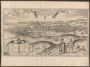 """Panorama Krakowa z kopca Krakusa, miedzioryt z """"Civitates orbis terrarum"""", 1603-1605, wyd. 1617, ze zbiorów MHK"""