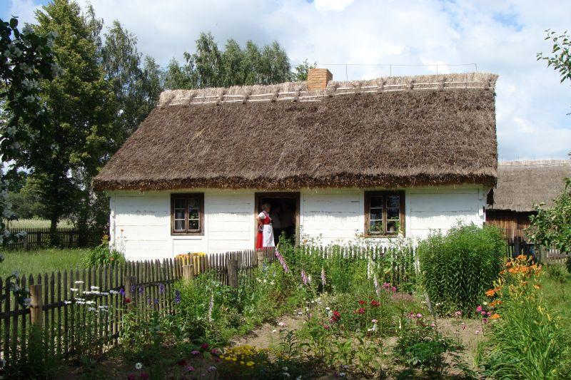 Muzeum Wsi Mazowieckiej w Sierpcu. Na zdjęciu chałupa  ze wsi Ostrów z 1910 roku.