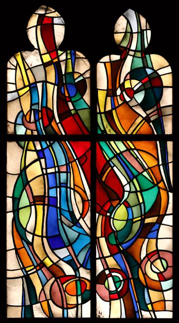 Władysław Kozioł - okno witrażowe z kompozycją abstrakcyjną, l. 70. xx w_