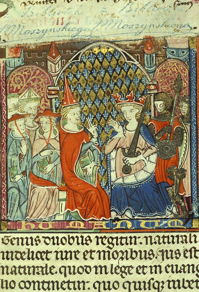 Papież i król - wykonawcy prawa średniowiecznego, miniatura na pierwszej karcie rękopisu Dekretu Gracjana, ok. 1300 r., Tuluza. Zbiory Specjalne BU KUL, fot. A. Adamczuk