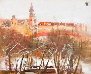 Wawel zimą, Jacek Malczewski (1854-1929), ok. 1900 r., olej na desce. Ze zbiorów Muzeum KUL, fot. I. Marciszuk, KUL