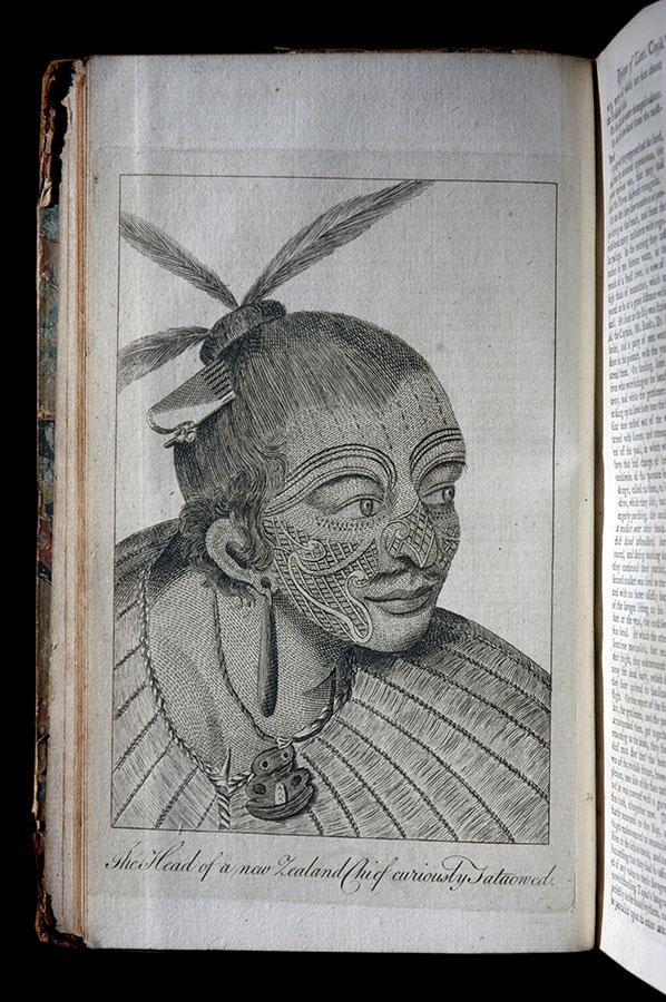 Słynna rycina S. Parkinsona przedstawiająca portret maoryskiego wodza, Gentlemans Magazine and Historical Chronicle Londyn 1774 r.
