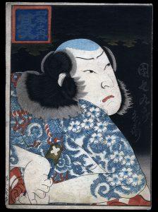 Wytatuowany aktor, Kunishige, poł. XIX w.