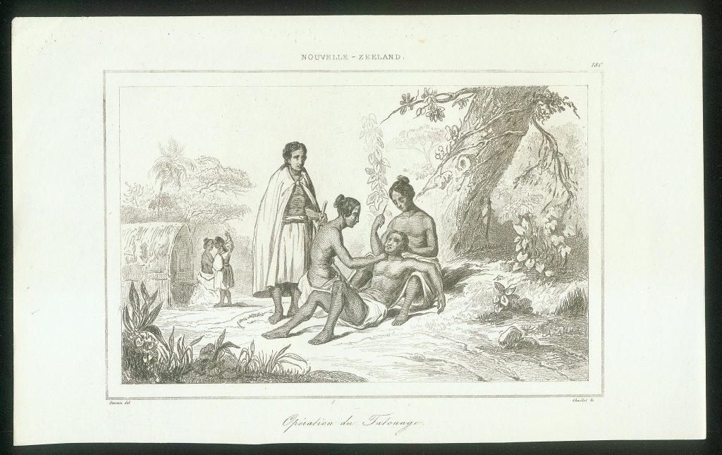 Litografia ukazująca proces tatuowania w Nowej Zelandii, publikacja z 1840 r.